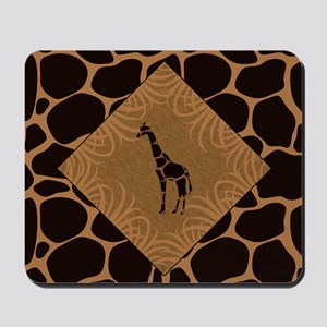 Giraffe with Animal Print Mousepad
