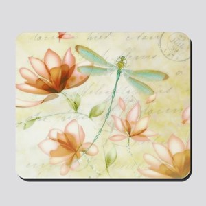 Pink flowers and dragonfly Mousepad