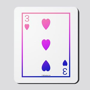 bi colored 3 of hearts Mousepad