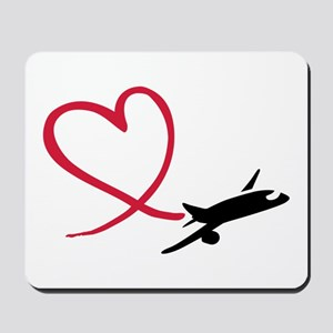 Airplane red heart Mousepad
