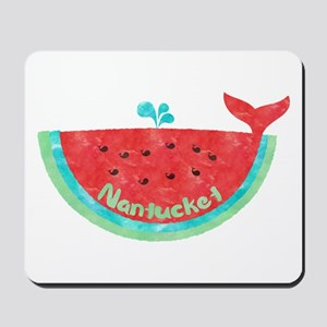 Cute Nantucket Watermelon Whale Mousepad