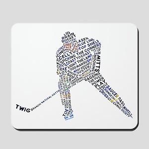Hockey Player Typography Mousepad