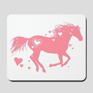 Pink Galloping Heart Horse Mousepad