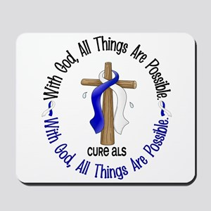 With God Cross ALS Mousepad