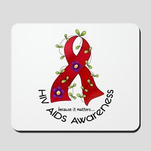 Flower Ribbon HIV AIDS Mousepad