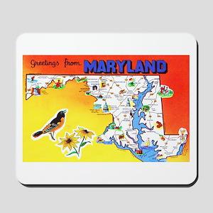 Maryland Map Greetings Mousepad