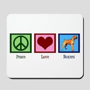 Peace Love Boxer Dog Mousepad