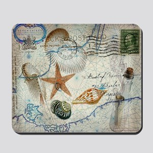 seashells nautical map vintage anchor Mousepad