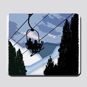 Chairlift Full of Skiers Mousepad