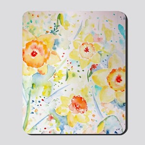 Watercolor Daffodils Pattern Mousepad