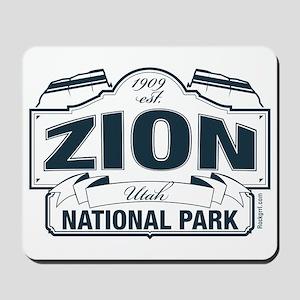 Zion National Park Blue Sign Mousepad
