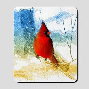 watercolor winter red cardinal Mousepad