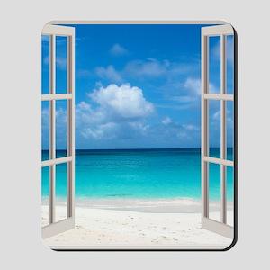 Tropical Beach View Through Window Mousepad
