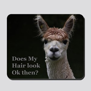 Alpaca with funny hairstyle Mousepad