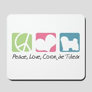 Peace, Love, Coton de Tulear Mousepad