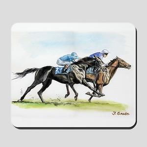 Horse race watercolor Mousepad