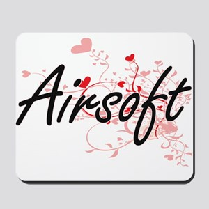 Airsoft Artistic Design with Hearts Mousepad