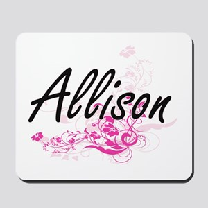 Allison Artistic Name Design with Flower Mousepad