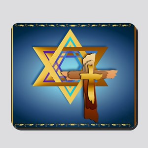 Star Of David and Triple Cros Mousepad