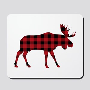 Plaid Moose Animal Silhouette Mousepad