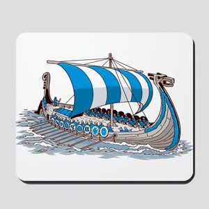 Blue Viking Ship Mousepad