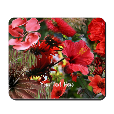Customizable Red Flower Photo Collage Mousepad