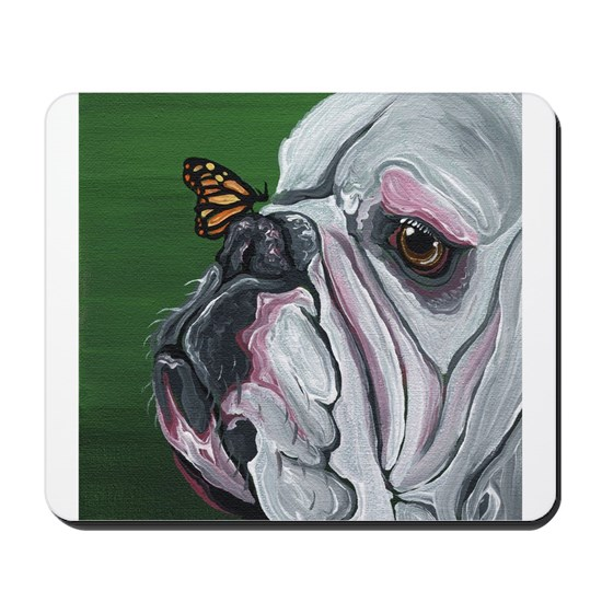 English Bulldog and Butterfly
