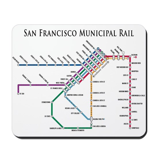 SF MUNI Map (with text) Mousepad
