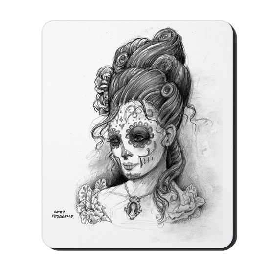 Maroon Dia de los Muertos pillow case right