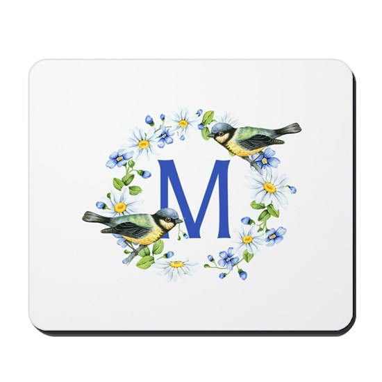 Bird Floral Wreath Monogram