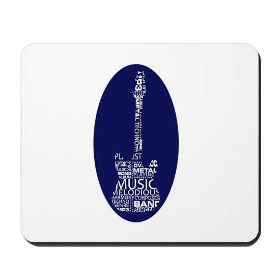 guitar word fill white on blue music image