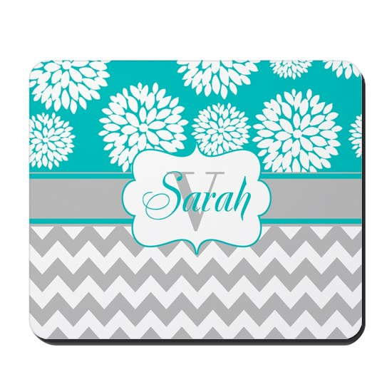 Gray Teal Chevron Blooms Personalized