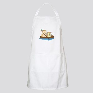 Cute Hedgehog couple sailing on wooden boat Apron