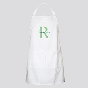 CUSTOM Initial and Name Green Apron