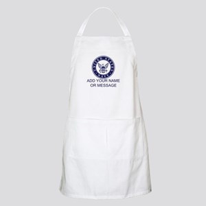 PERSONALIZED US Navy Blue White Apron
