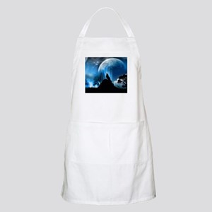 Wolf Howling At The Moon Apron
