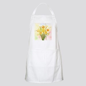 Watercolor Daffodils Yellow Spring Flowers Apron