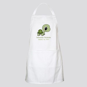 CUSTOM Green Baby Turtle w/Name and Date Apron