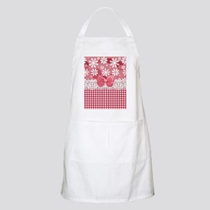 Pretty Pink Gingham Daisies Apron