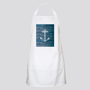 Anchor on Blue faux wood graphic Apron