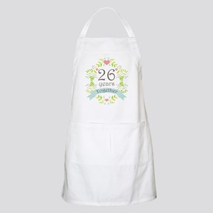 26th Anniversary flowers and hearts Apron