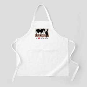 I Love Horses & Girl w/ Color BBQ Apron
