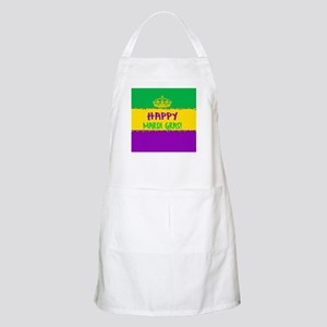 Happy Mardi Gras Crown and Beads Apron