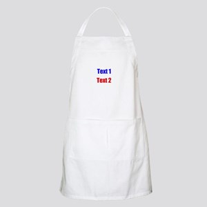 Blue and Red Custom Text. Apron