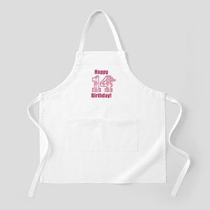 Happy 14th Birthday - Pink Argyle Apron