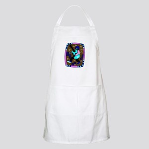 male carrying 5 string bass blue graphic Apron