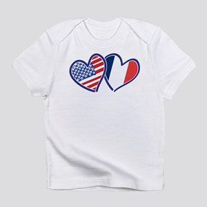 USA France Love Hearts Infant T-Shirt