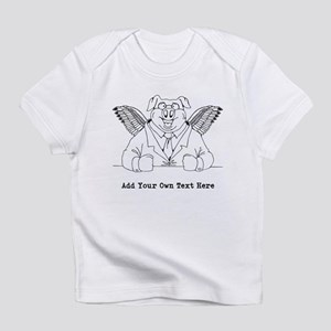 Flying Pig in Suit. Custom Text Infant T-Shirt