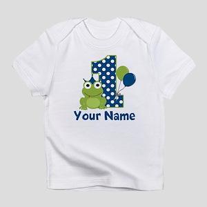 1st Birthday Frog Blue Infant T Shirt