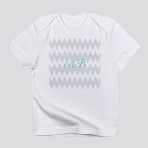 Gray Chevron Teal Monogram Infant T-Shirt